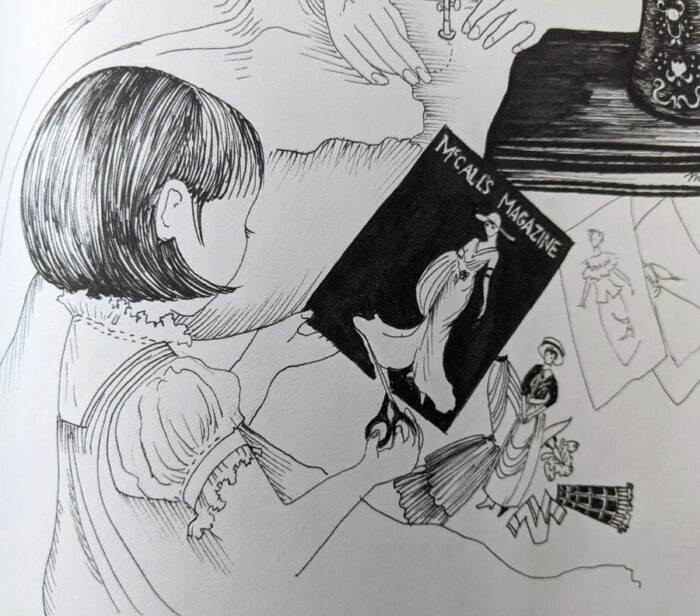 Pen-and-ink illustration by Mary Ryan Reeves from the Claire picture book
