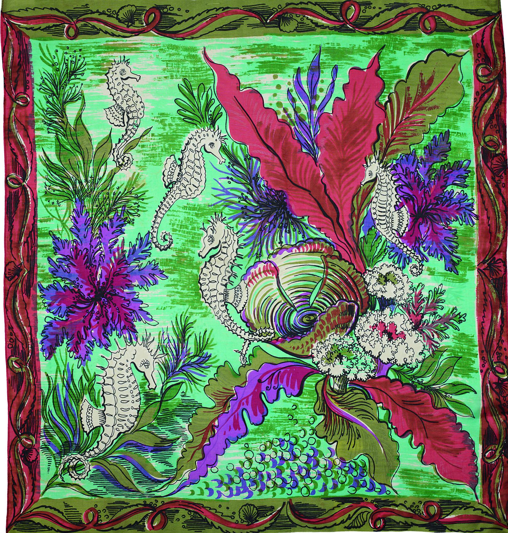 Undersea print vintage silk scarf