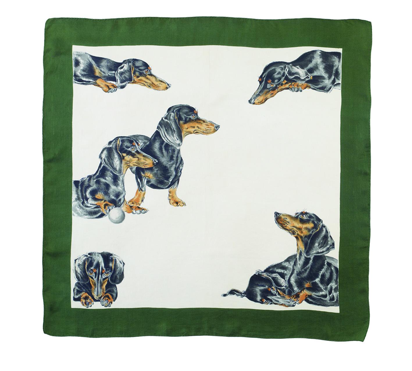Dachshund print vintage scarf