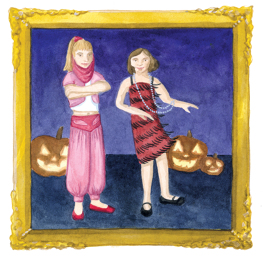 Illustration of sisters in home-sewn Halloween costumes.