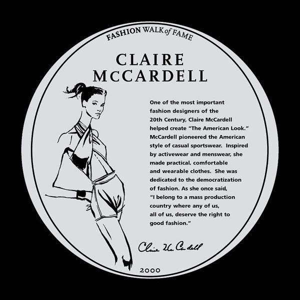 Claire McCardell sidewalk plaque