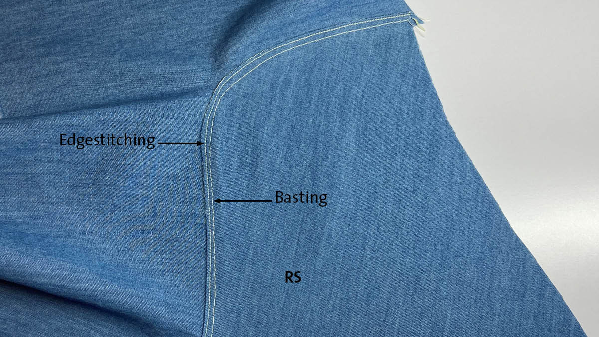 Lapped and appliqued seam: edgestitched close to the fold