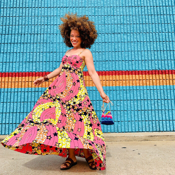 Marcy Harriell wearing a star-print maxidress with ease
