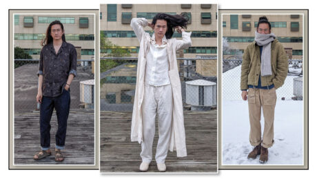 Three-photo image of @_donnyq, a young Asian man with long hair, on a rooftop, wearing self-made clothing.