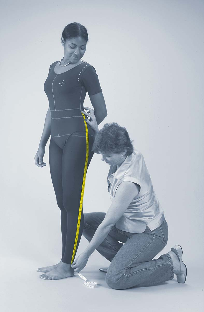 measuring the legs of the body