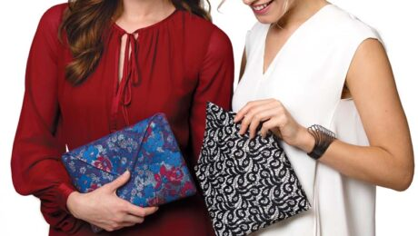 two women using their handy pouches