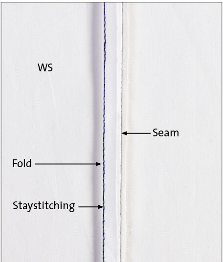 Fold along the staystitching toward the seam.