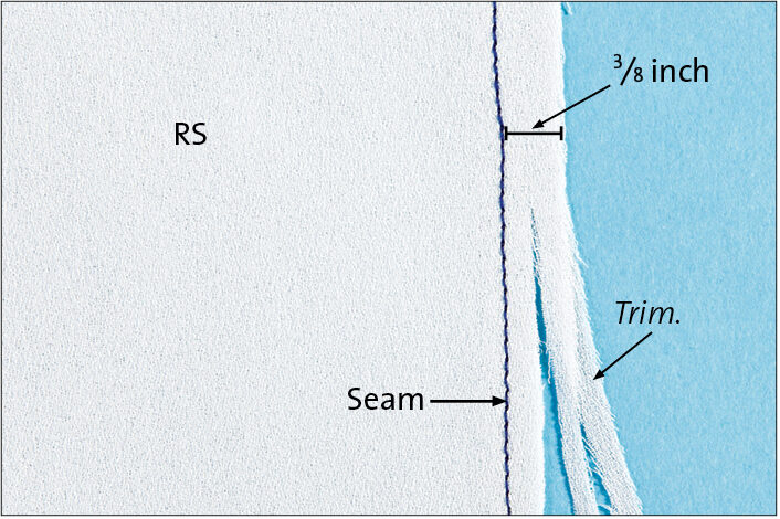 With wrong sides together, sew the seam with a 3⁄8-inch seam allowance