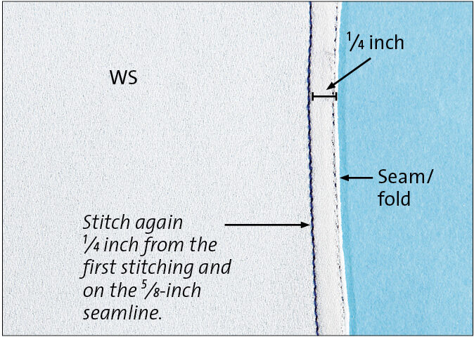 Stitch again 1⁄4 inch from the first seam