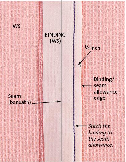 Cut 1-1⁄4-inch-wide bias strips.