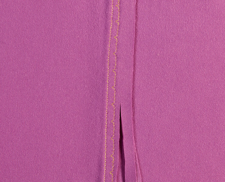 Stitched together and trimmed seam allowances