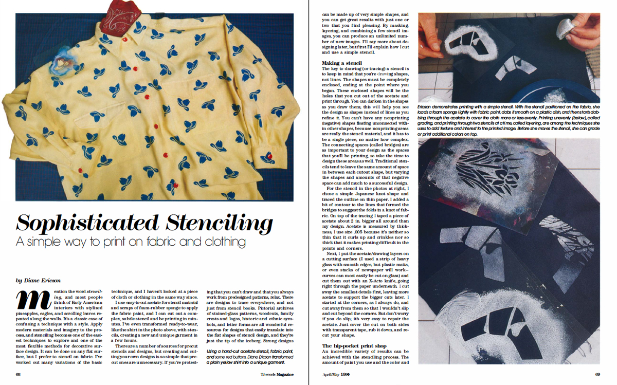First two pages of Diane Ericson's first article in Threads