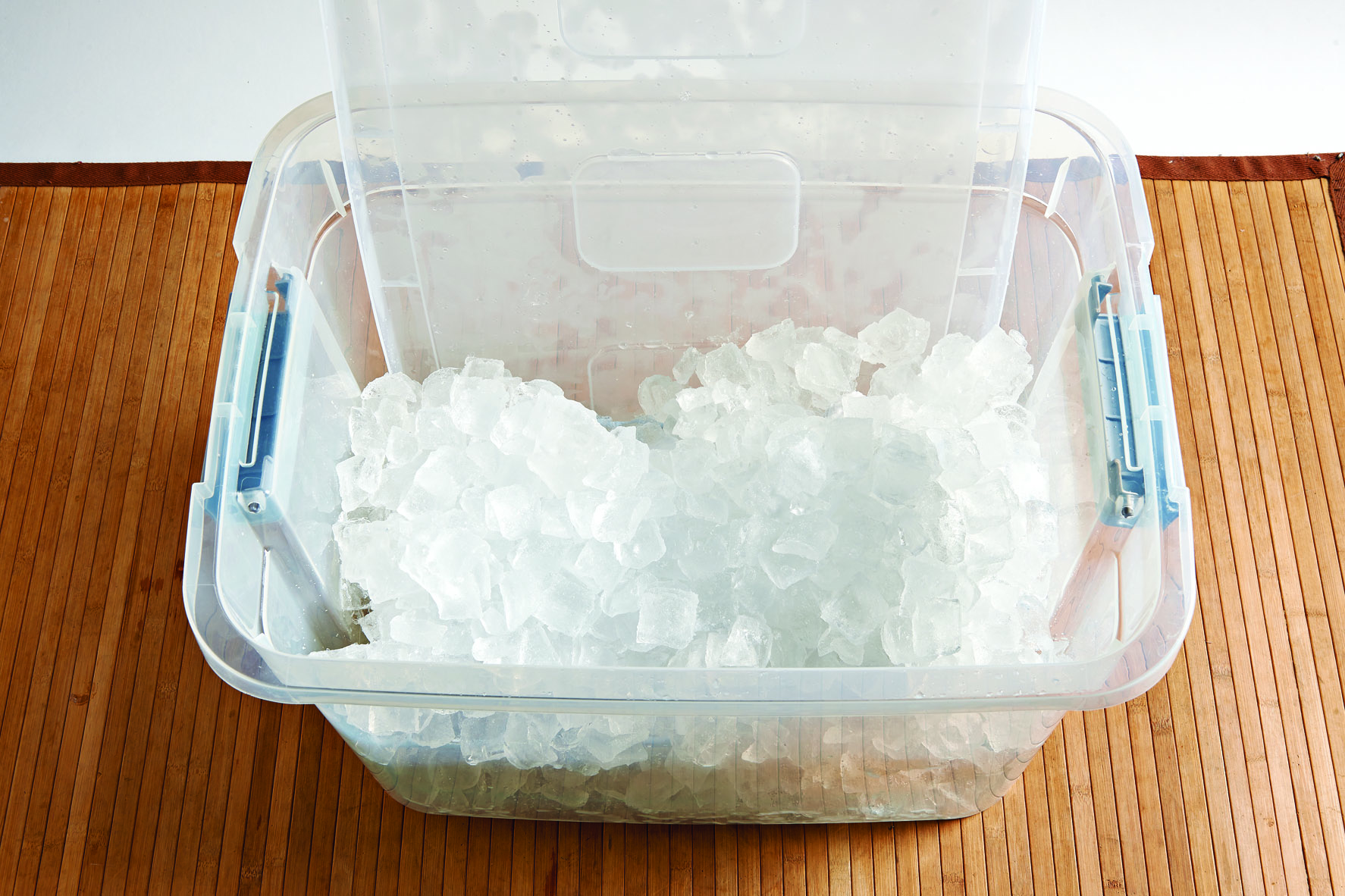 Plastic storage bin with ice