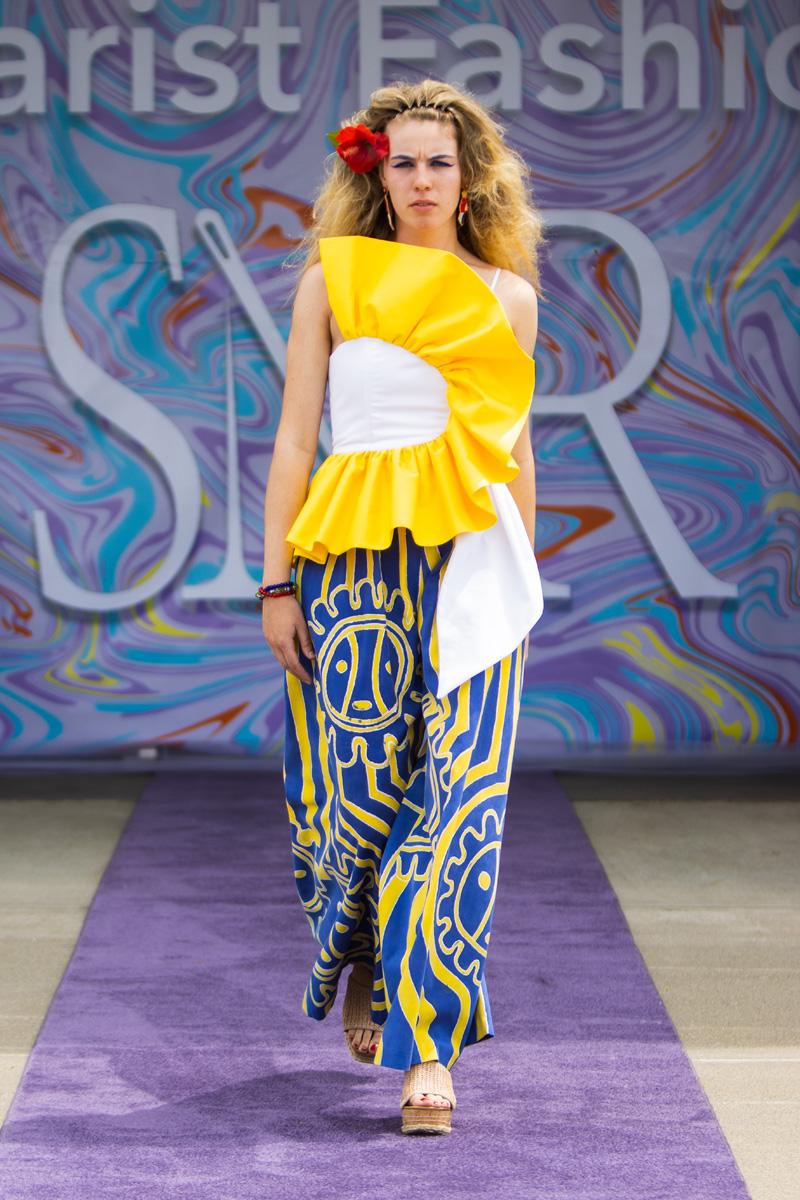 Kristine Otero design: Yellow ruffled top with painted palazzo pants