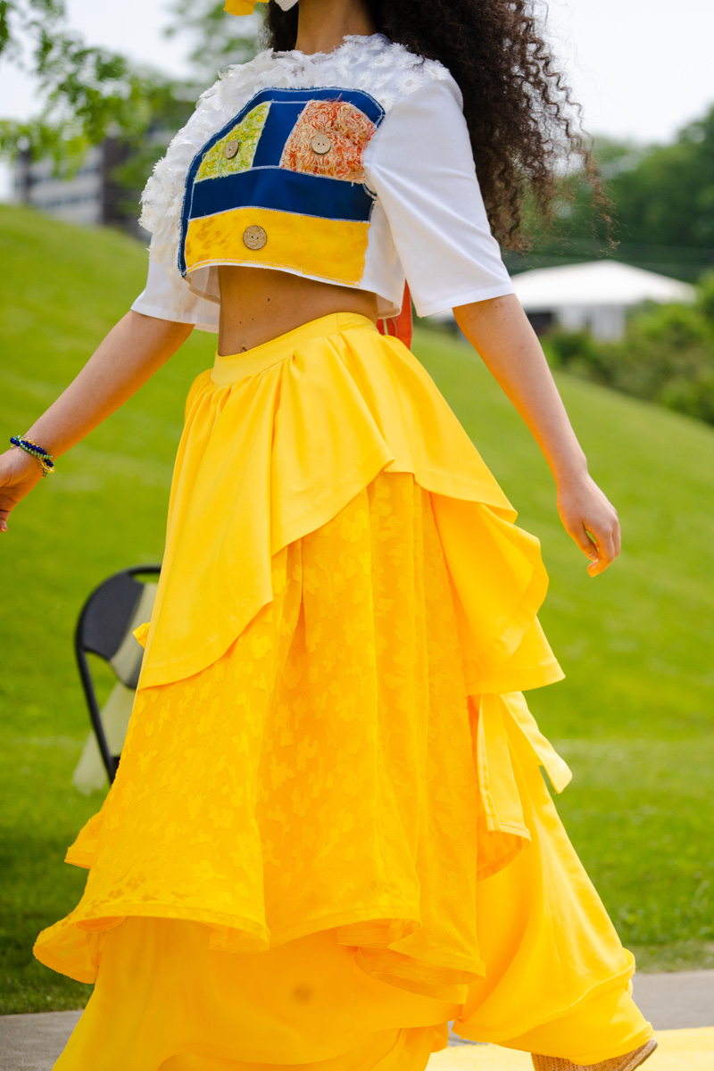 Yellow skirt design included horsehair strips