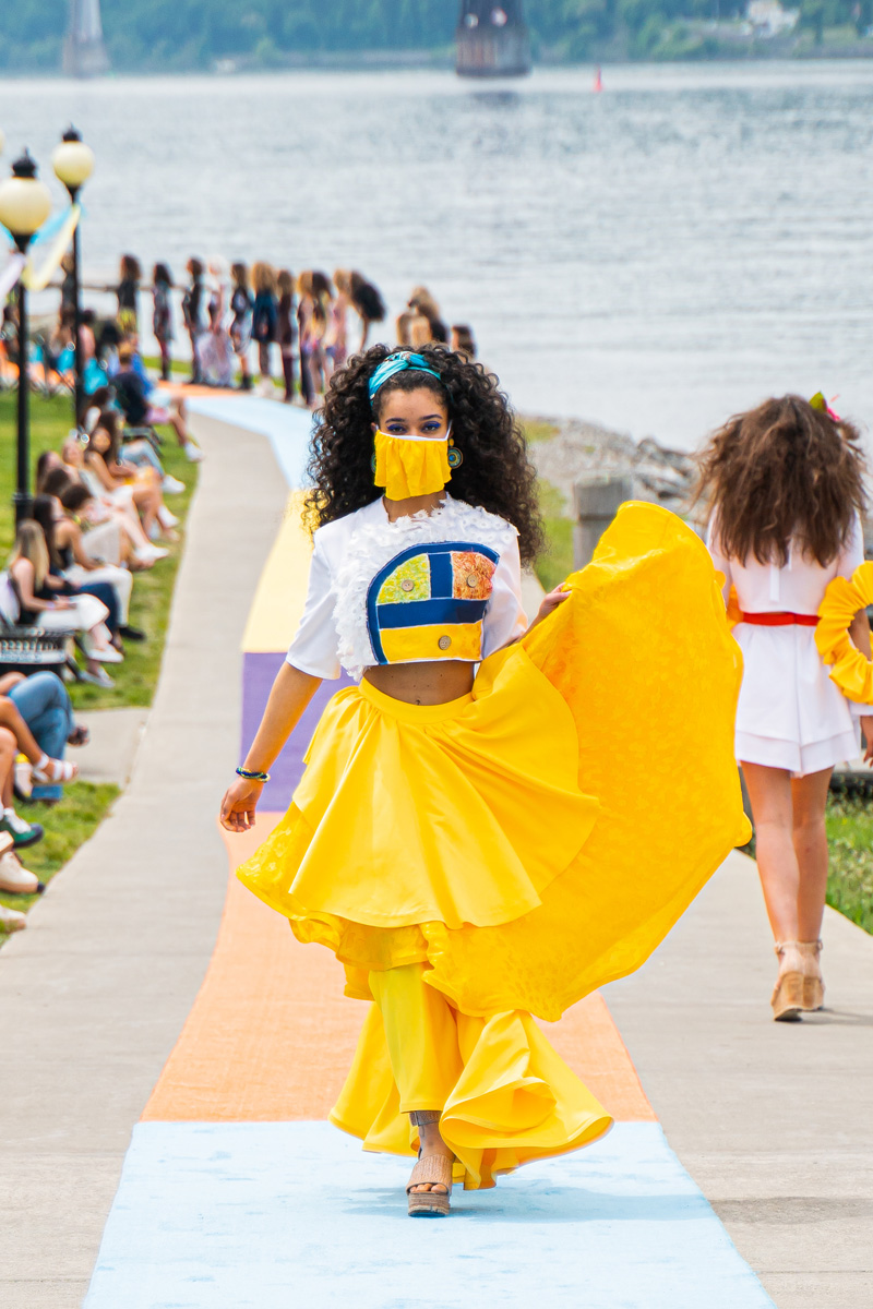 Designer Kristine Otero's winning yellow skirt ensemble