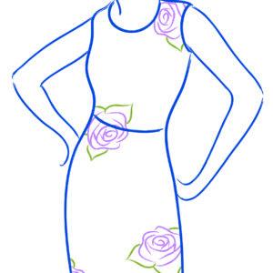 Zigzag floral pattern on dress