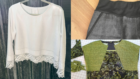 Composite image of lace-trimmed top, pants with knit waistband and fish-print top