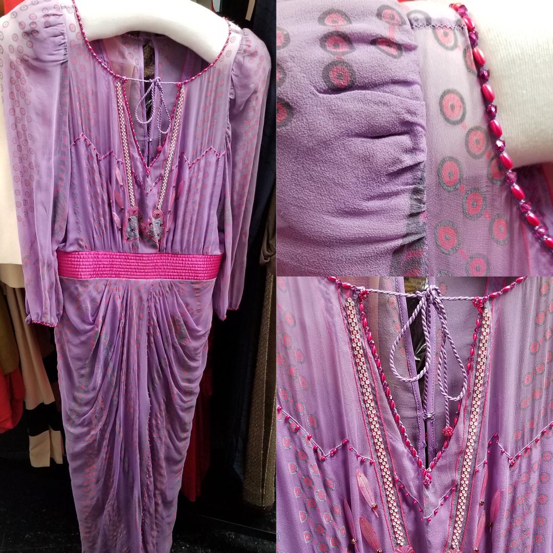 screen-printed, lavender silk chiffon Zandra Rhodes evening dress circa 1970