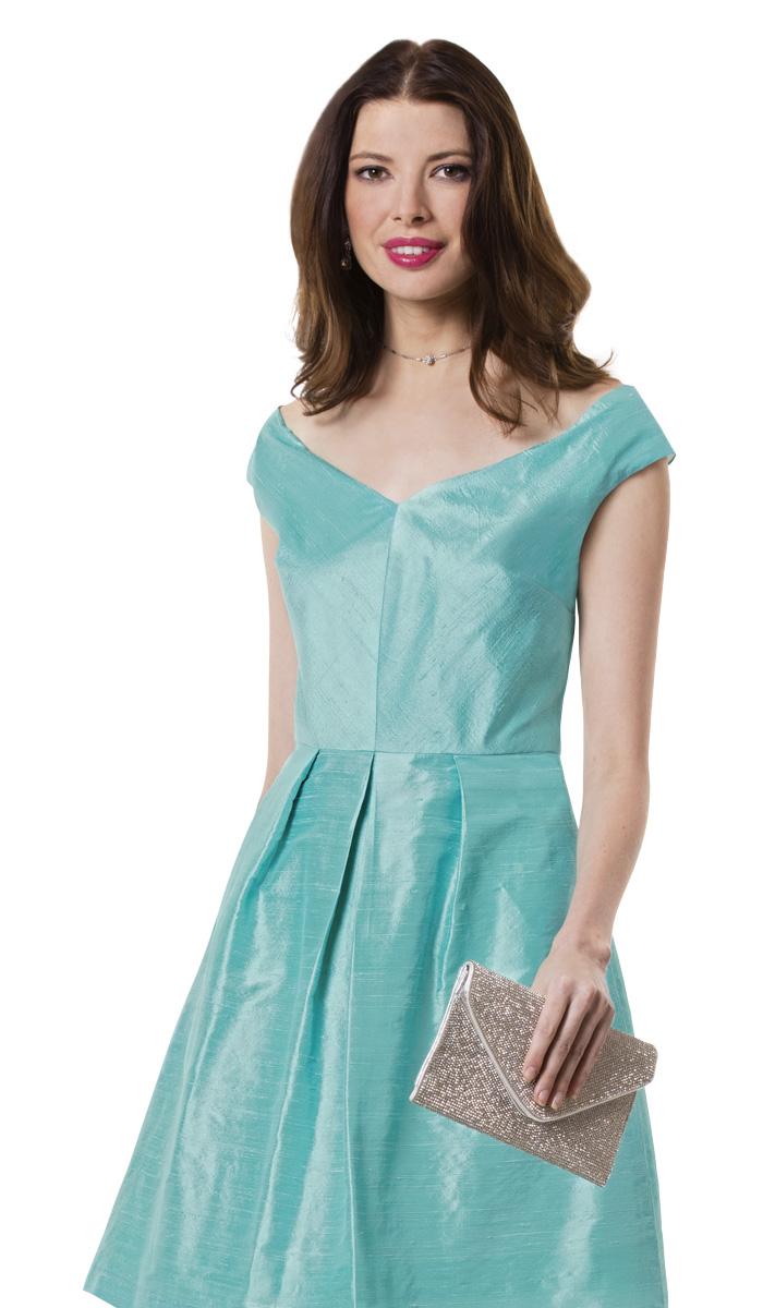 Model wearing silk dupioni.