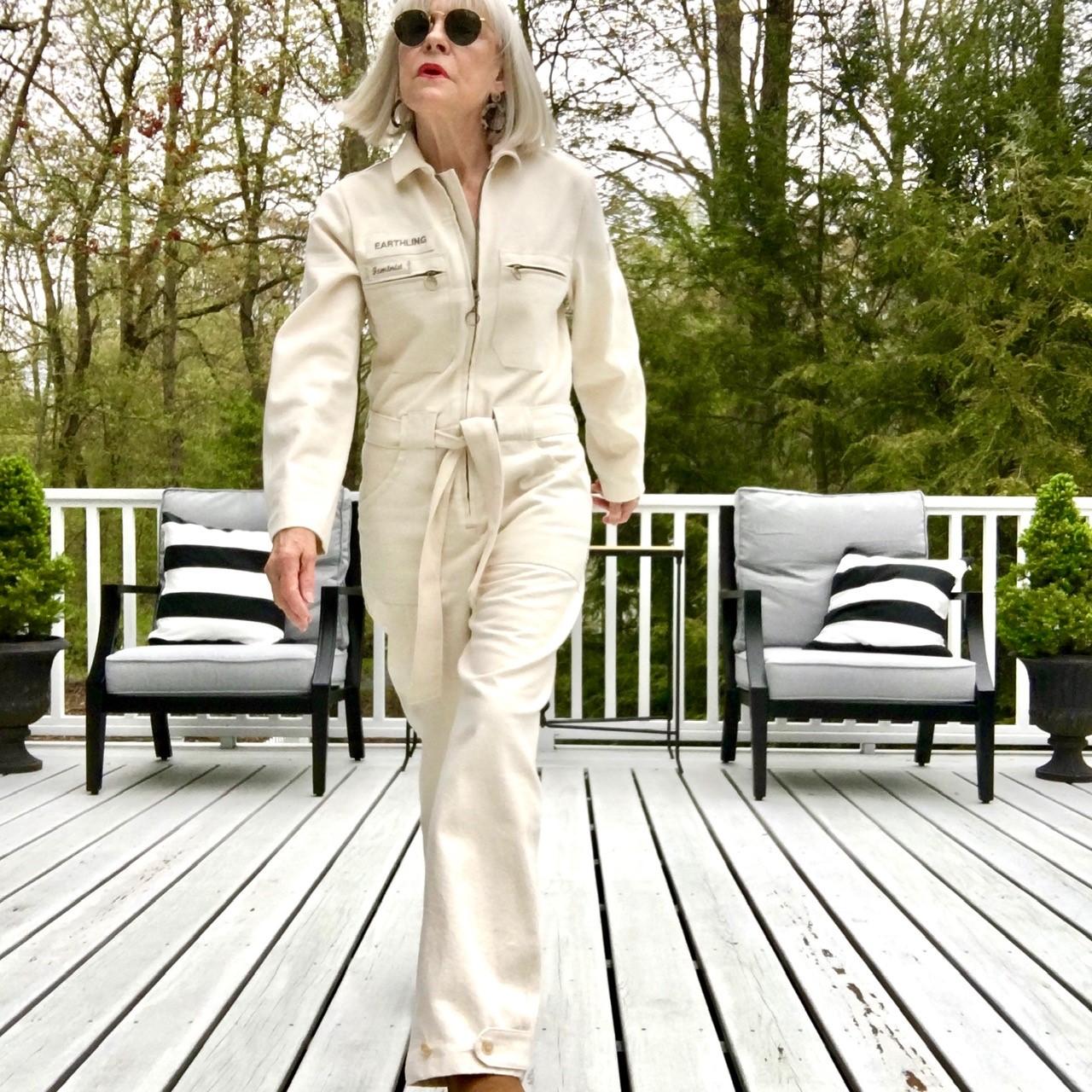 Blanca of @blakandblanca in an off-white jumpsuit