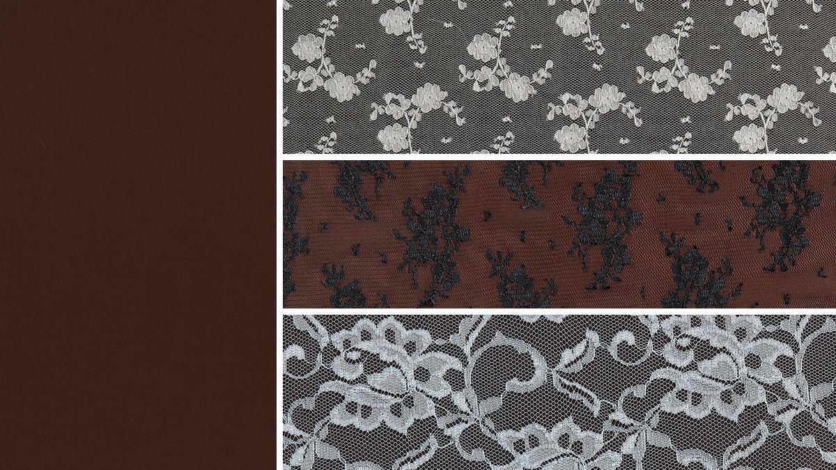 dark brown fabric under sheer lace