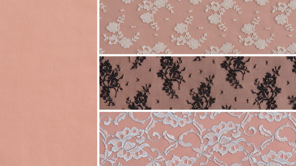 light pink fabric under sheer lace