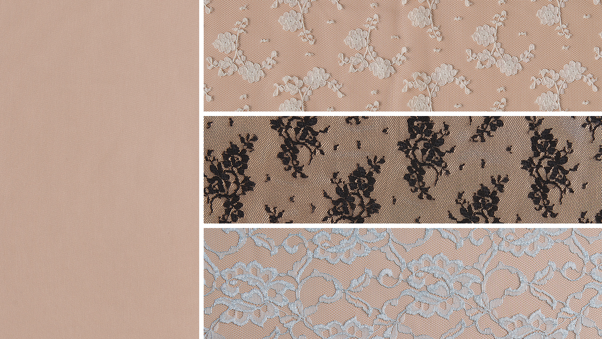 beige fabric under sheer lace