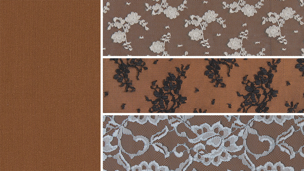 light brown fabric under sheer lace