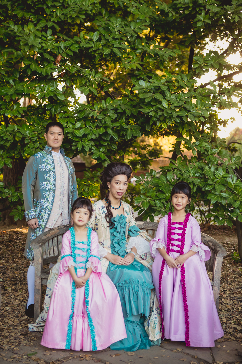 A.J. Wu and family in 18th-century costumes.