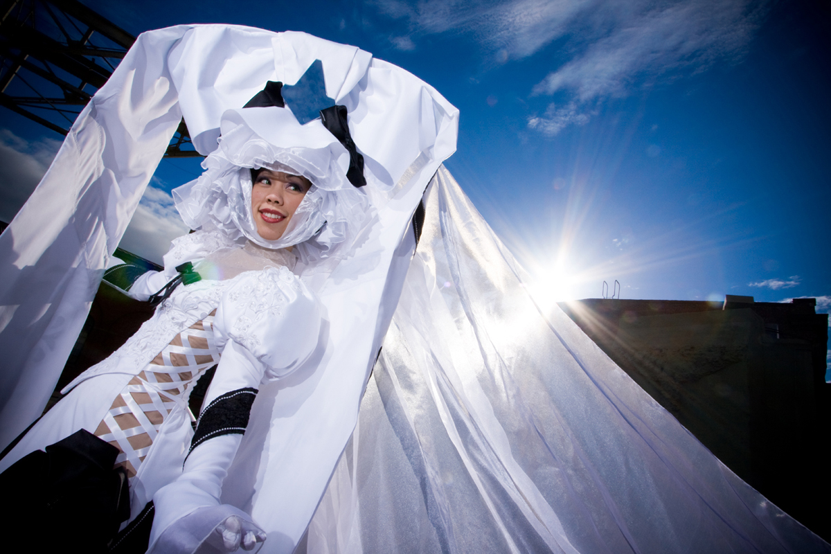 """@confusedkittysewing dressed in """"The Bride"""" cosplay outfit."""