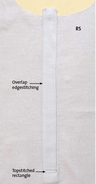 Edgestitch the overlap side