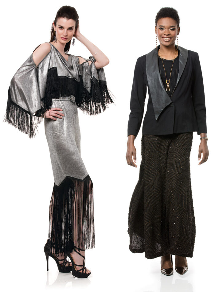 Two models wearing knit textiles.