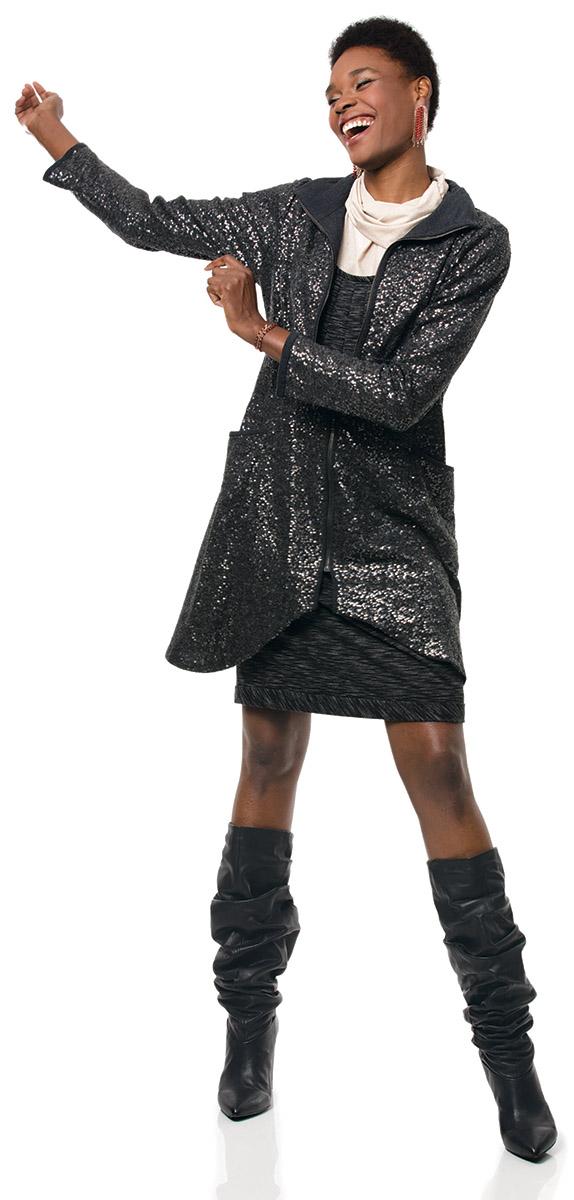 Model wearing a sportswear inspired ensemble.