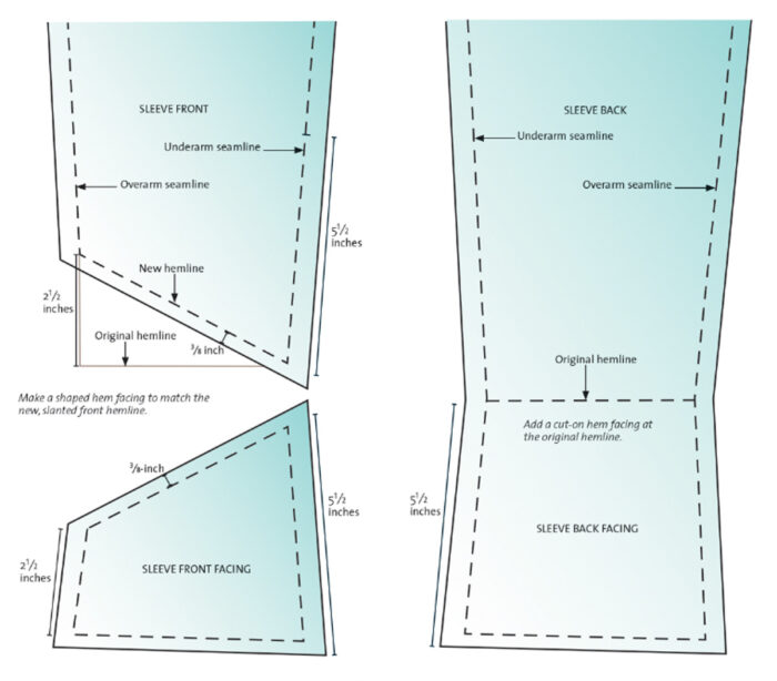 Front and back sleeve construction diagram