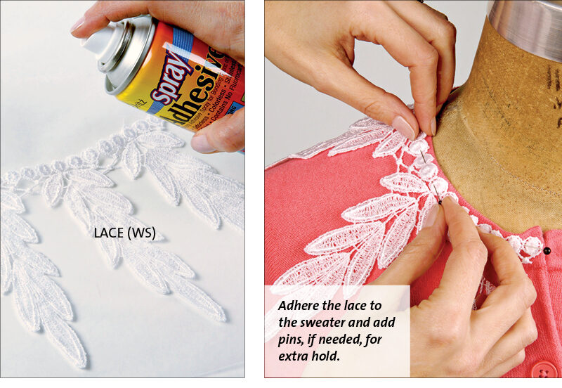 adhereing the lace