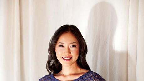 a women wearing a custom lace top