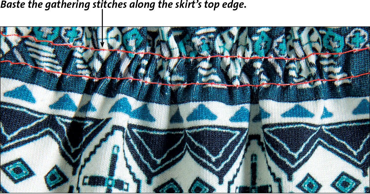 stitches along the edge of skirt