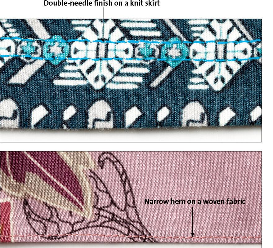 needle finish then hem the skirt