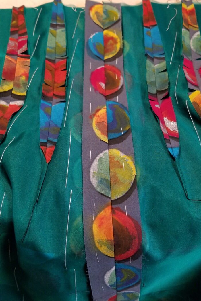 The hand-printed fabric is lightweight so it was underlined with silk organza