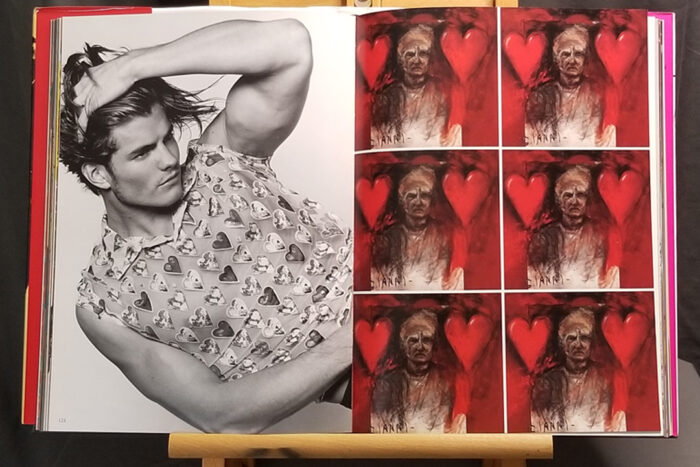 Two-page spread from The Art of Being You by Gianni Versace showing a model wearing a heart-print shirt