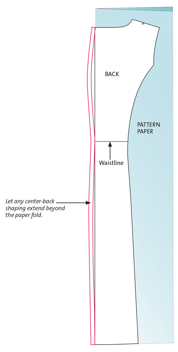Graphic illustration of how to revise the center back pattern.