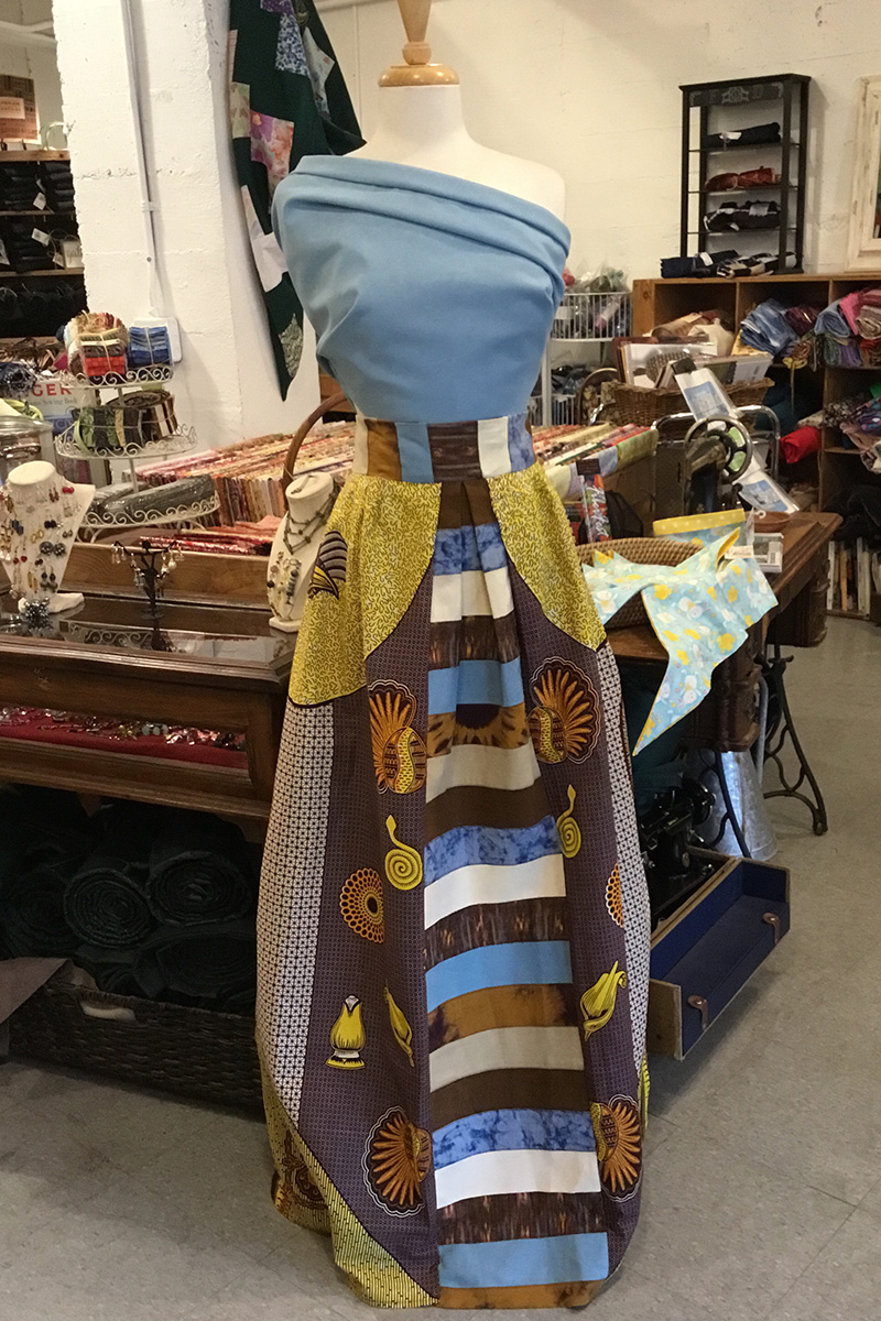 blue and brown dress using African fabrics