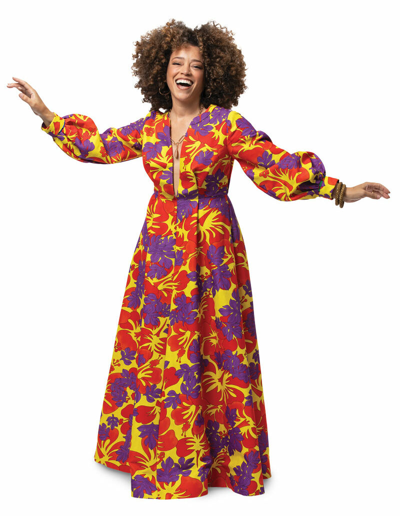 The author twirls with delight in a maxi dress with a beautifully faced hem. Pattern: Simplicity 9041, modified. Fabric: polyester bengaline, Chic Fabrics, New York.