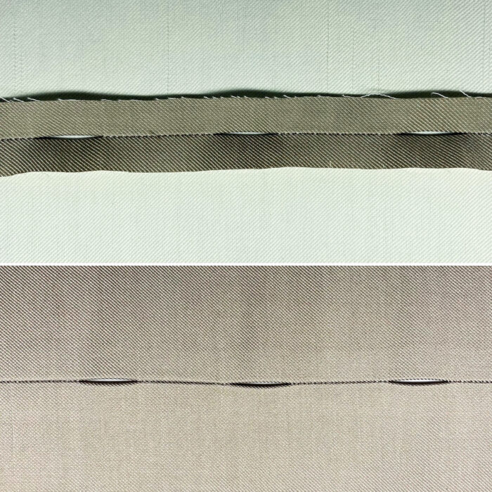Buttonhole seam in placket extension