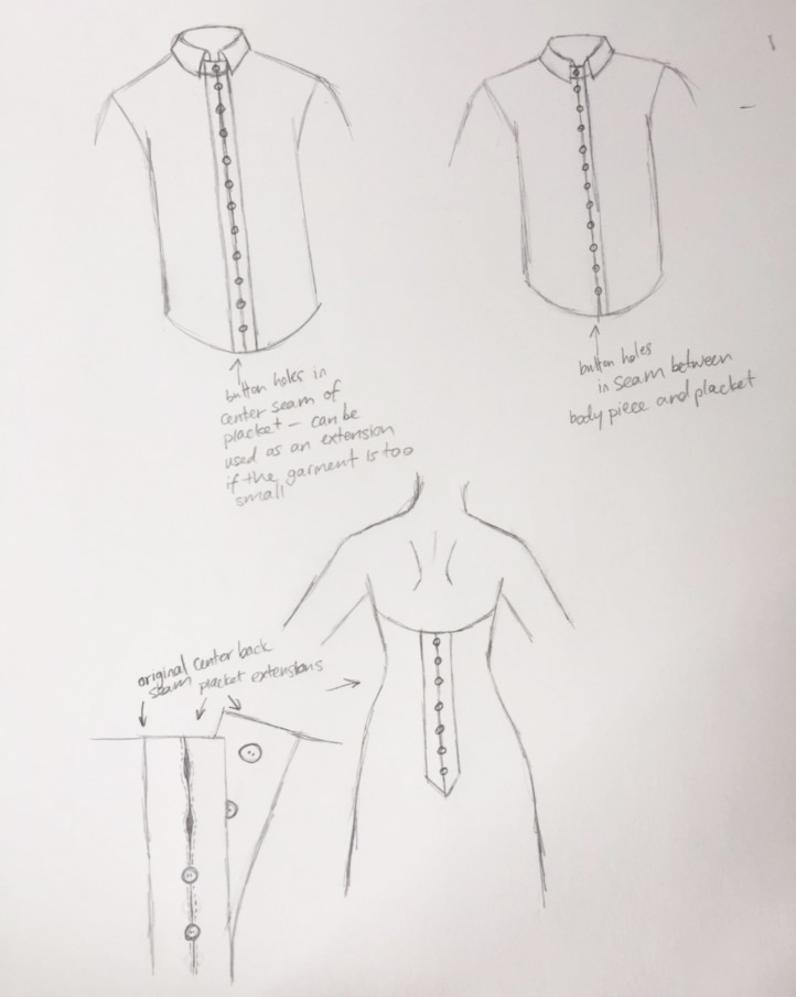 Design ideas for a button placket extension with in-seam buttonholes.