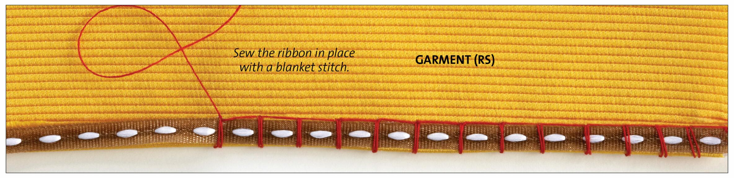 blanket stitch to sew ribbon