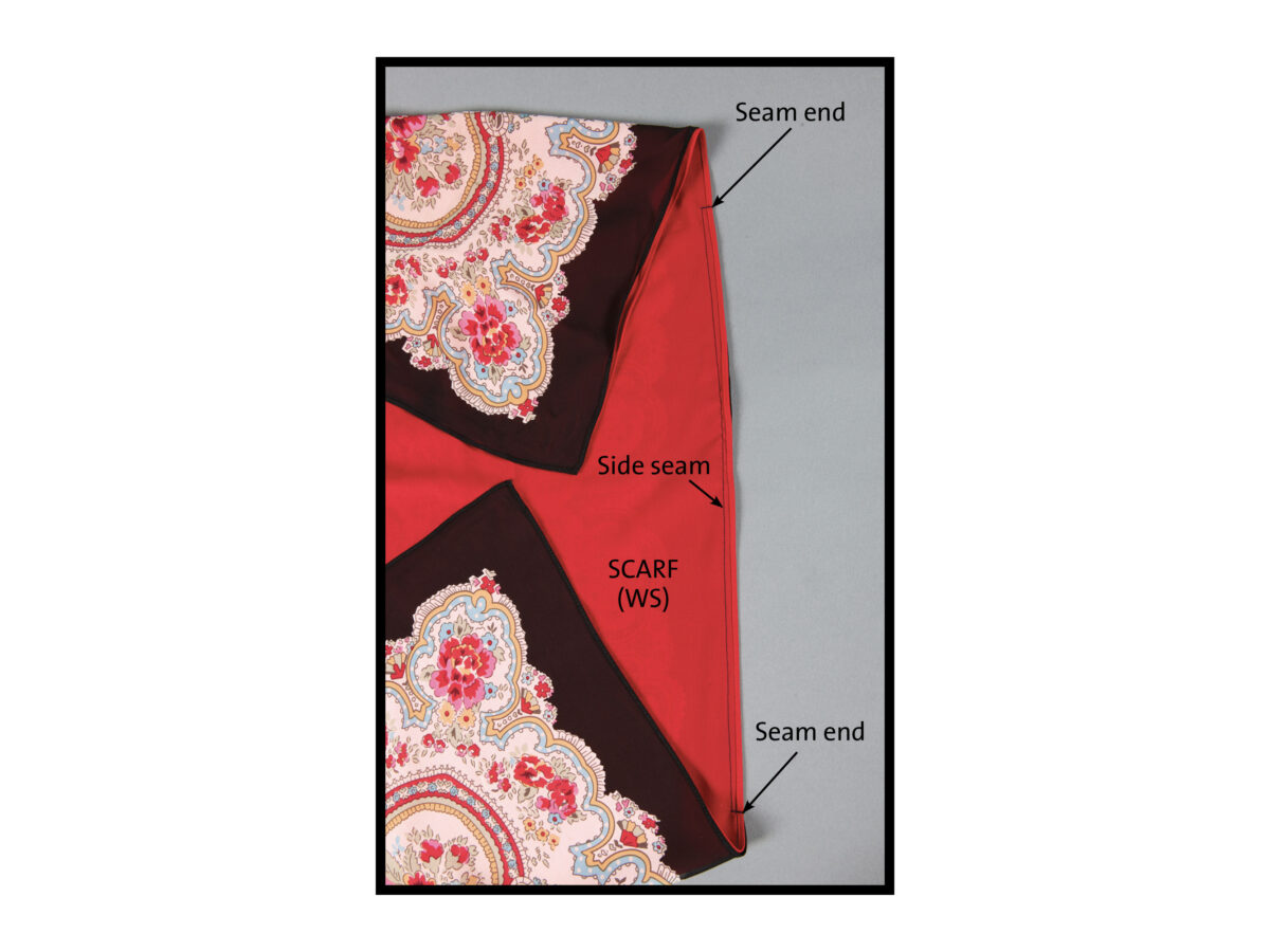 sew a side seam of the scarf