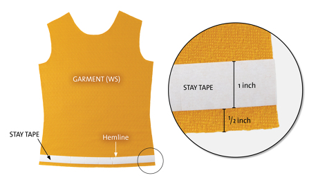 Applying stay tape to hems on knit garments