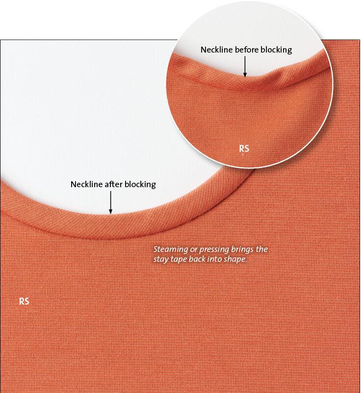 Block the neckline back into shape.